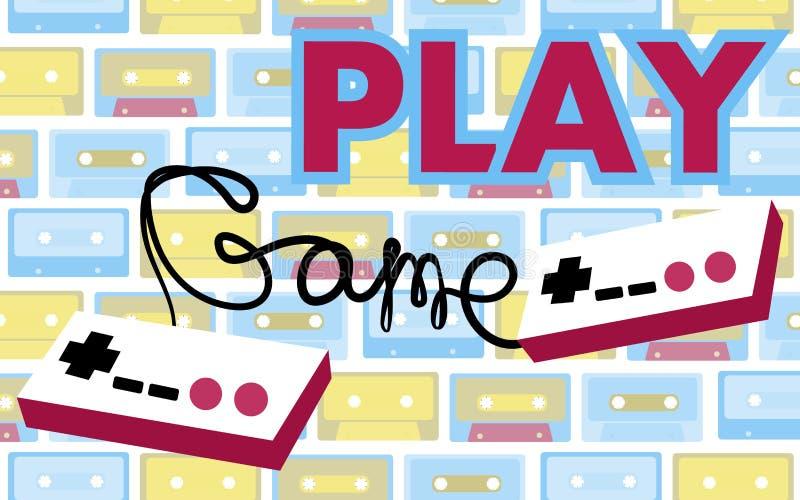 ` 70 s, 80 ` gameplay do controlador retro velho do jogo da antiguidade do moderno do vintage s, 90 ` s em cassetes áudio de um f ilustração stock