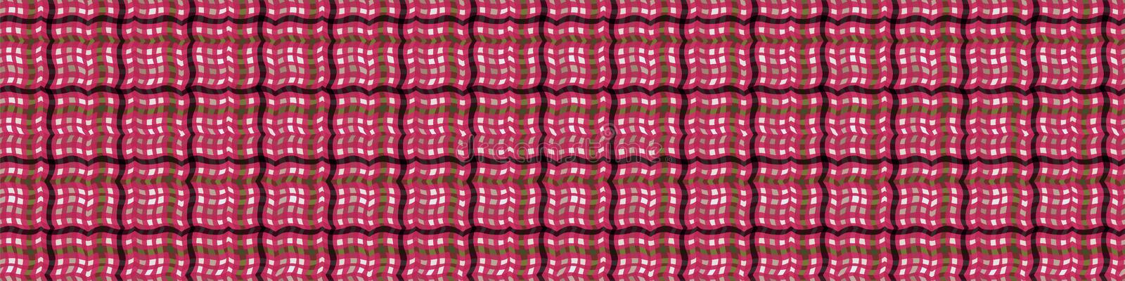 1950s Gingham Seamless Border Repeat Pattern Background. Red and White Printed Lacy Edge Banner. Classic Retro Fashion, Picnic royalty free illustration