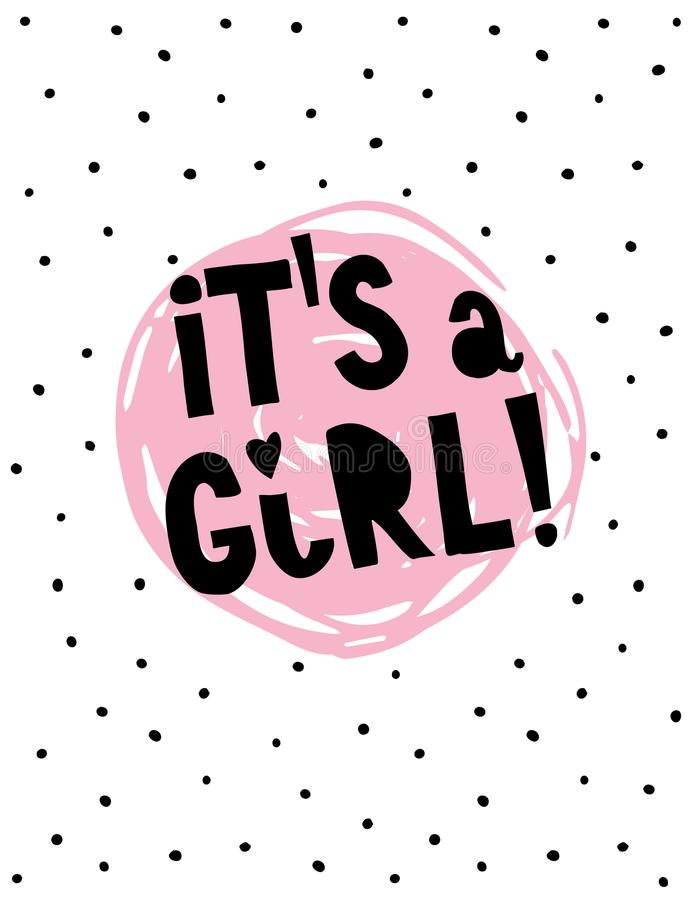 It`s a Girl Hand Drawn Cool Abstract Vector Illustration. vector illustration
