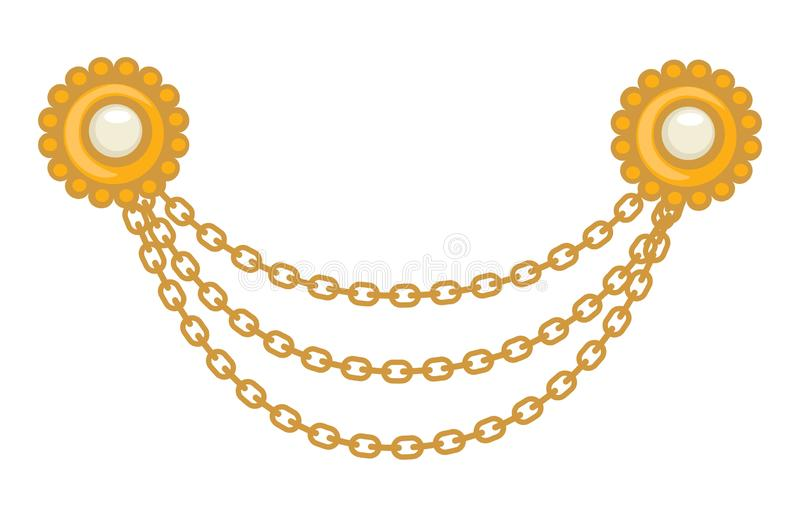 40s Gold jewelry, brooch and chains, 1940s accessory royalty free illustration