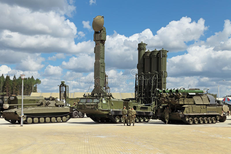 S-300 (Grumble). KUBINKA, MOSCOW OBLAST, RUSSIA - JUN 9, 2015: International military-technical forum ARMY-2015 in military-Patriotic park. Canoniac launcher air stock photo