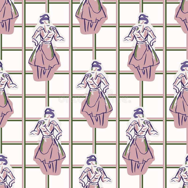 1950s housewife fashion outfit seamless vector pattern. Hand drawn loose lineart style of retro fifties vintage woman with gingham royalty free illustration