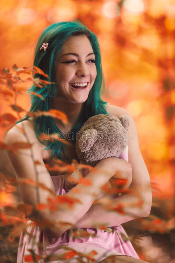 She`s hugging stock image