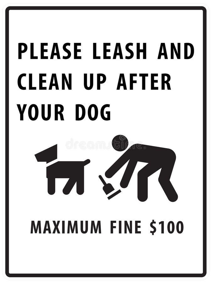 S'il vous plaît la laisse et nettoient après votre signe de crabot illustration de vecteur