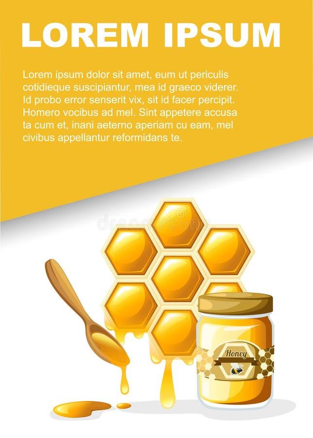 S??j mi?d Honeycomb z słodkimi miód kroplami i drewnianą łyżką Strony internetowej strona i wisz?cej ozdoby app projekt P?aska We ilustracja wektor