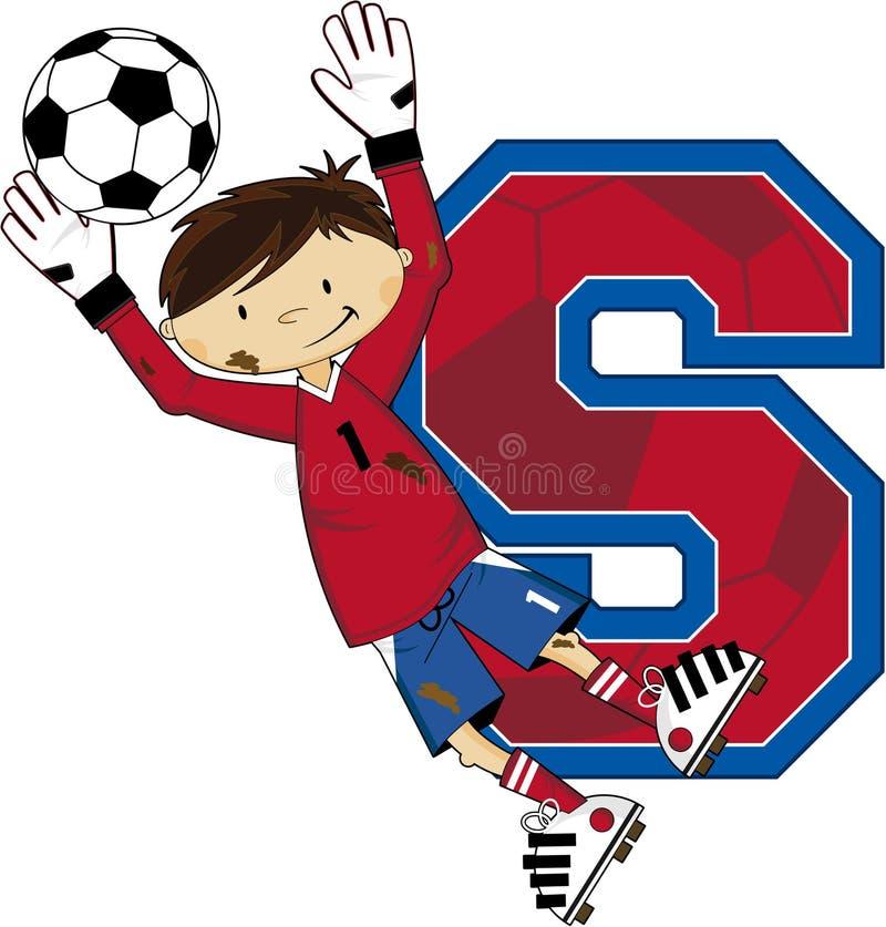 S jest dla piłki nożnej - bramkarz piłki nożnej chłopiec royalty ilustracja