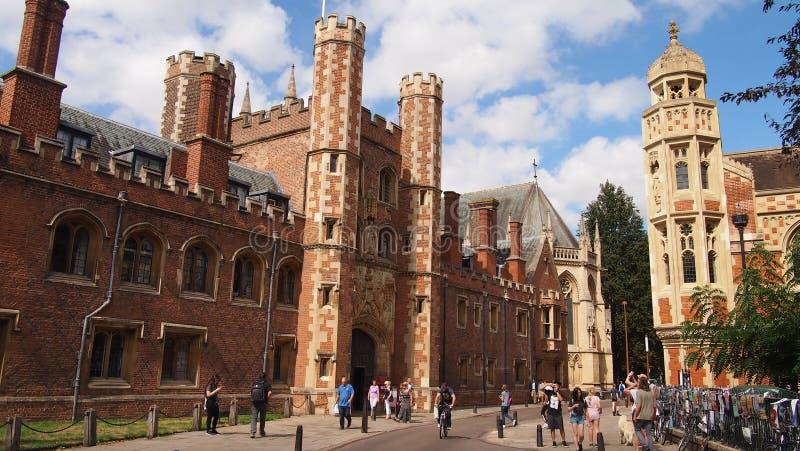 ` S Johannes College in Cambridge, England lizenzfreie stockbilder