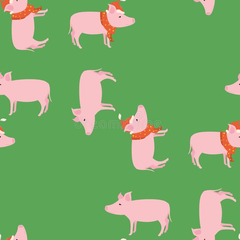 ` S, julmodell för nytt år med en gullig rosa gilt vektor illustrationer