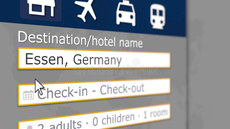 S?kande av hotellet i Essen, Tyskland p? en online-boka plats Sl?kt tolkning 3D f?r lopp vektor illustrationer