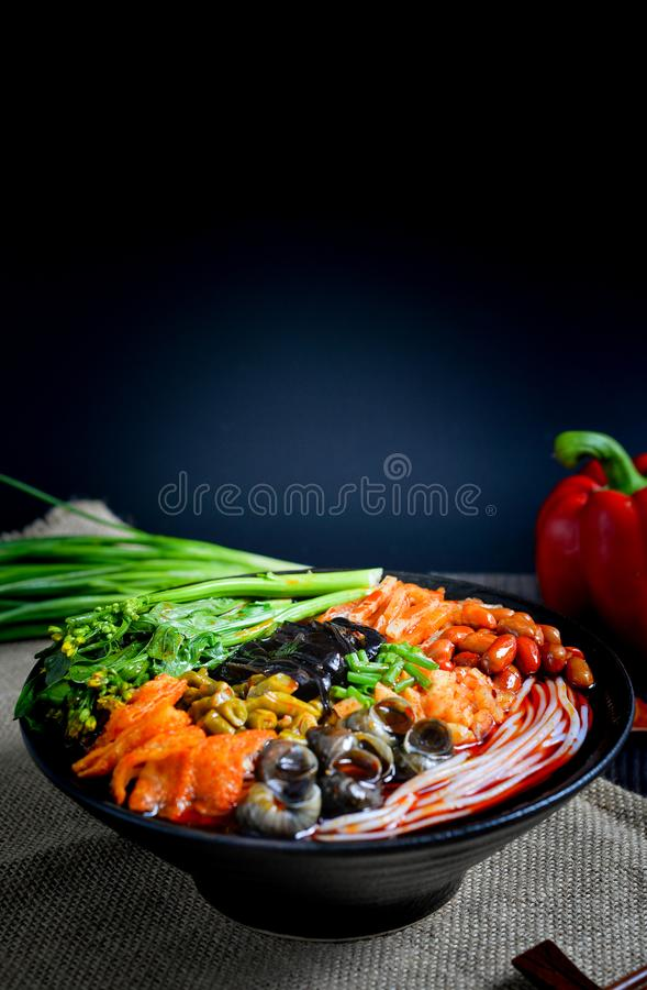 Chinese food and Chinese noodles south Chinese food. It`s a kind of Southern Chinese noodles, made of noodles and other spicy food stock image