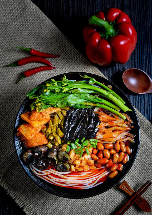 Chinese food and Chinese noodles south Chinese food. It`s a kind of Southern Chinese noodles, made of noodles and other spicy food royalty free stock images