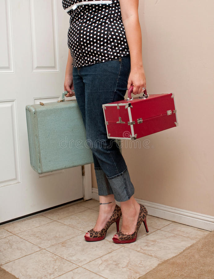 She's leaving home stock photography
