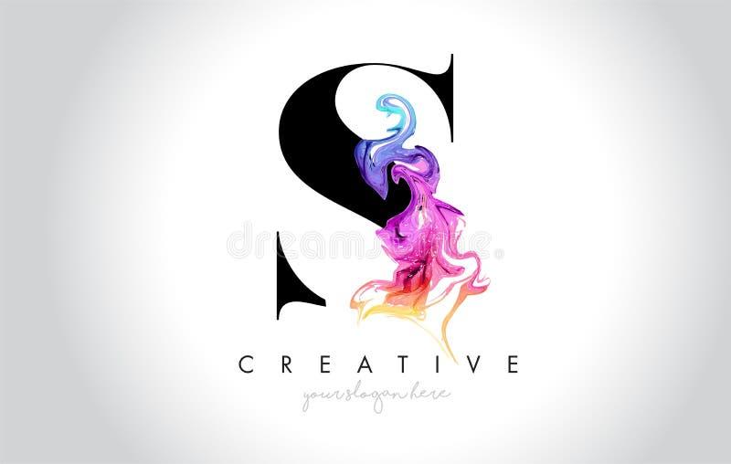 S Leter criativo vibrante Logo Design com tinta colorida Flo do fumo ilustração do vetor