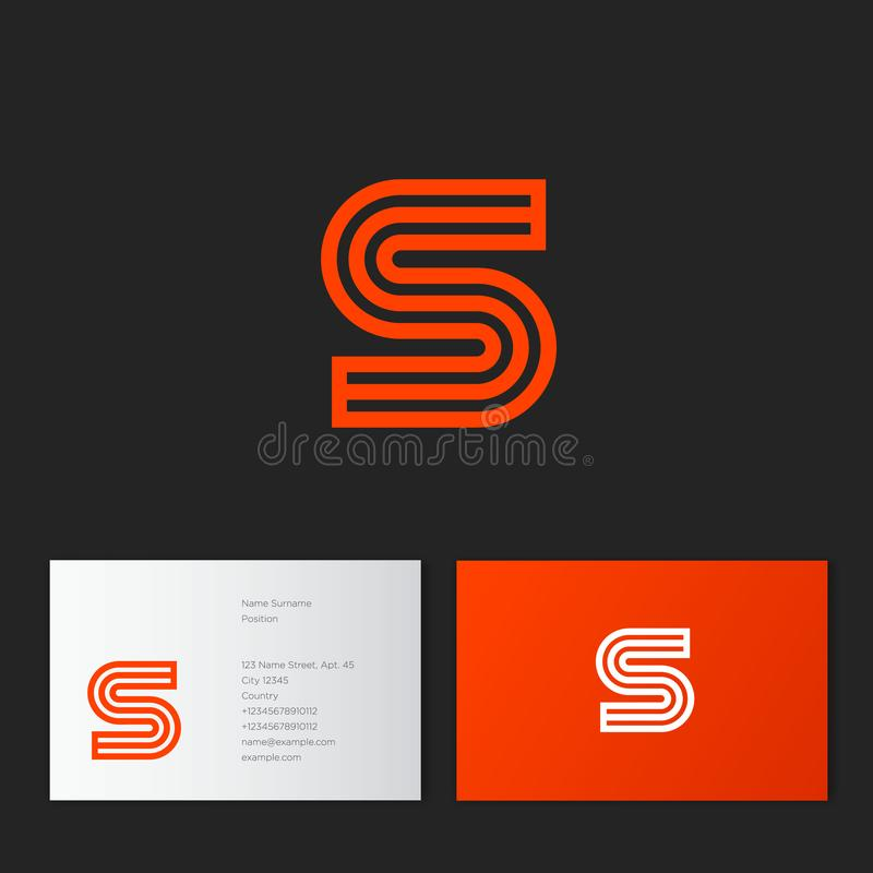 S letter. S linear logo. S orange monogram, isolated on a dark background. vector illustration
