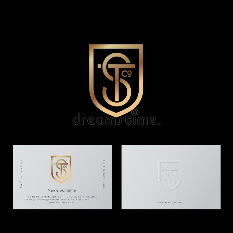 S, lettres de T Le monogramme de S et de T se composent de la ligne et du bouclier d'or illustration libre de droits