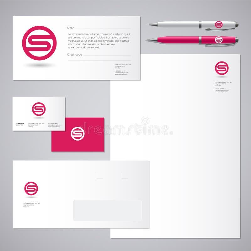 S logo S czerwieni listu tożsamość i monogram Korporacyjny styl, koperta, letterhead, wizytówka, pióra royalty ilustracja