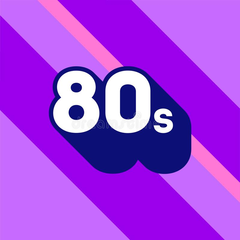 80s logo design. 1980s sign with long shadow. Number ninety. Vector element. stock illustration