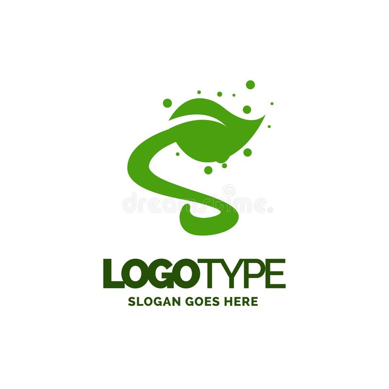 S logo with Leaf Element. Nature Leaf logo designs, Simple leaf. Logo symbol. Natural, eco food. Organic food badges in vector. Vector logos. Natural logos with vector illustration