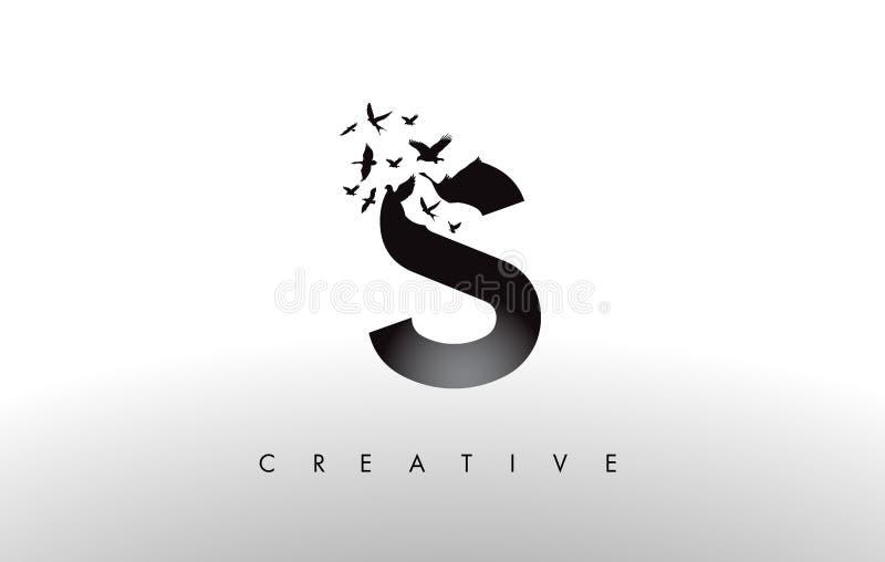 S Logo Letter mit Menge von den Vögeln, die von fliegen und sich auflösen lizenzfreie abbildung