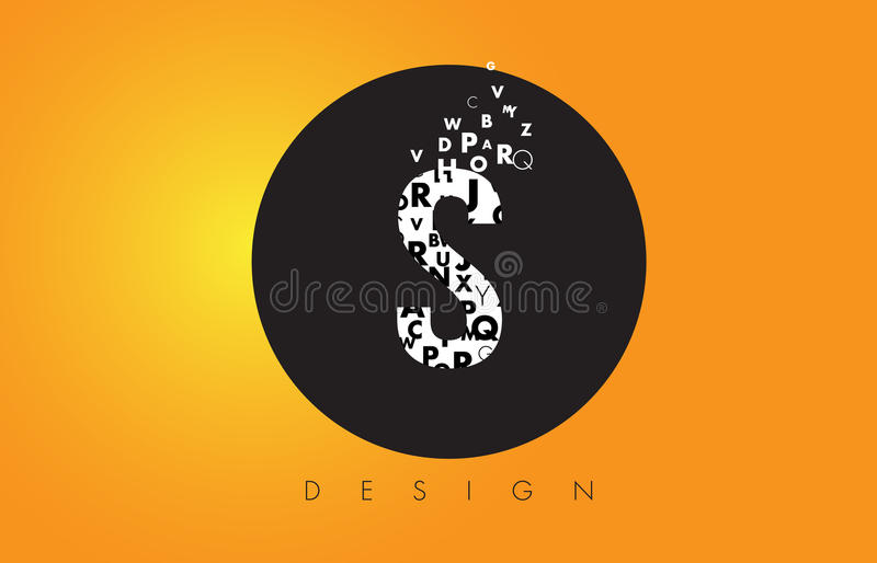 S Logo Made of Small Letters with Black Circle and Yellow Background. stock illustration