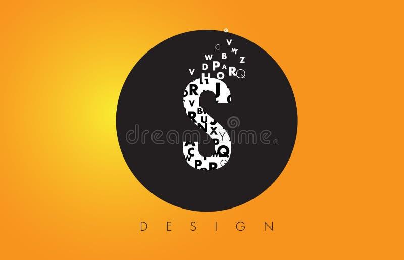S Logo Made van Kleine letters met Zwarte Cirkel en Gele Backgr stock illustratie