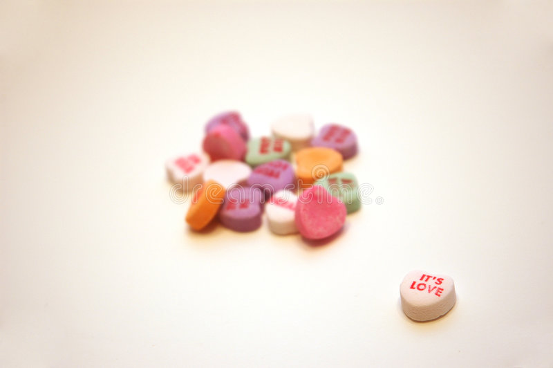 It's Love Valentine's Day Conversation Hearts stock images