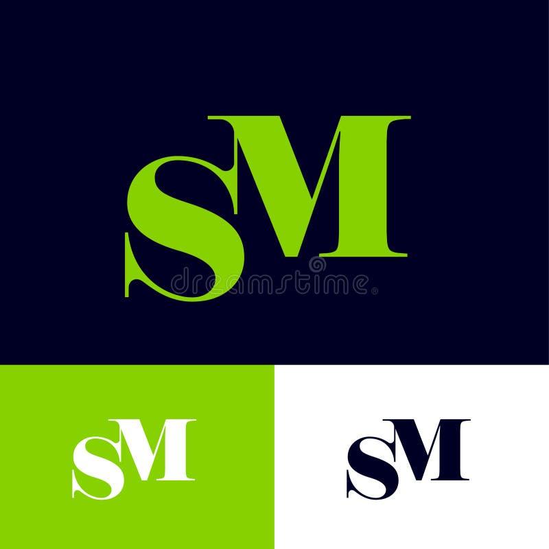 S and M Monogram S, letras ?re de M combinado en diversos fondos libre illustration