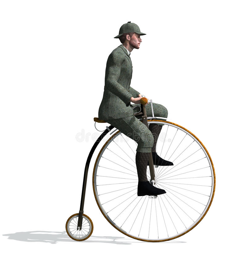 1880's Man Riding a Penny-farthing Bicycle. stock illustration