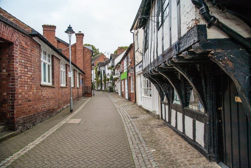 S Marys passage in Stafford het UK met oude gebouwen royalty-vrije stock afbeeldingen