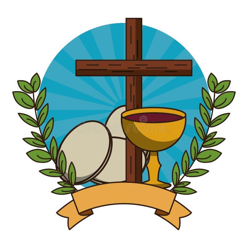 S?mbolo cruzado de madera cristiano ilustración del vector