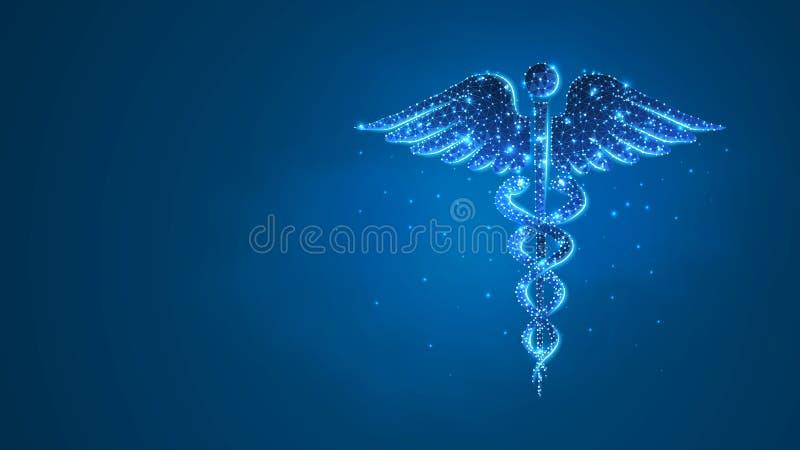 S?mbolo da sa?de do Caduceus símbolo médico, conceito dos cuidados médicos Sum?rio, digital, wireframe, baixa malha poli, azul do ilustração stock