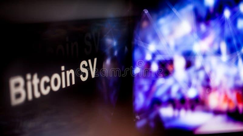 S?mbolo de Bitcoin SV Cryptocurrency comportamiento de los intercambios del cryptocurrency, concepto Tecnolog?as financieras mode imagen de archivo libre de regalías