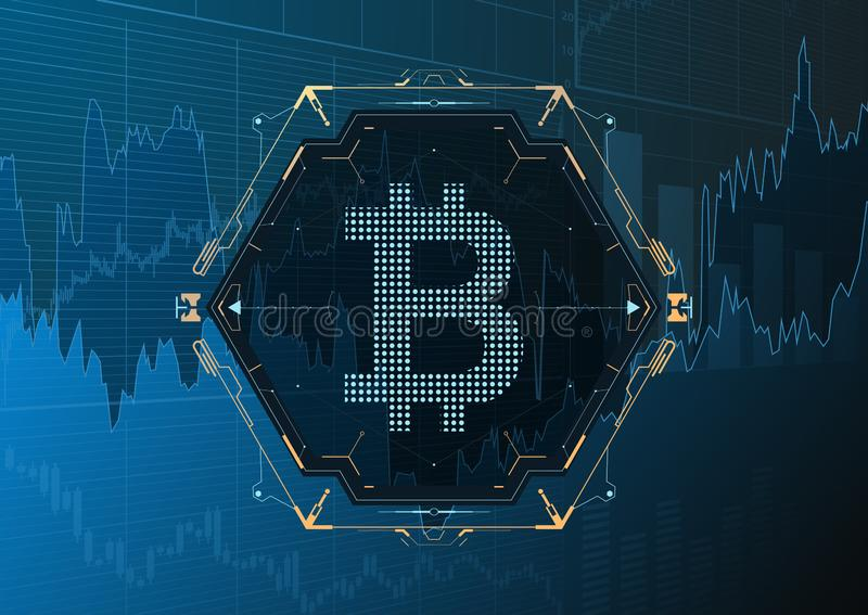 S?mbolo de Bitcoin y carta del precio libre illustration