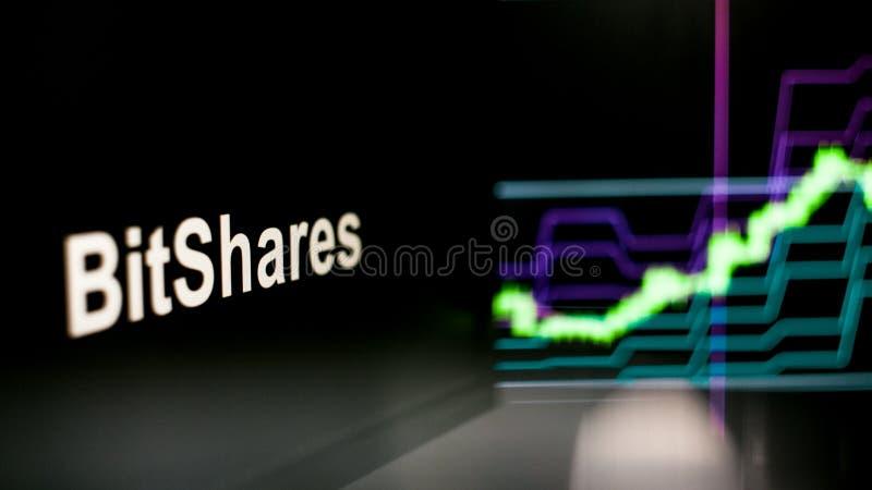 S?mbolo de BitShares Cryptocurrency El comportamiento de los intercambios del cryptocurrency, concepto Tecnolog?as financieras mo fotos de archivo