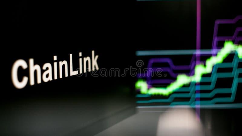 S?mbolo de ChainLink Cryptocurrency O comportamento das trocas do cryptocurrency, conceito Tecnologias financeiras modernas ilustração royalty free