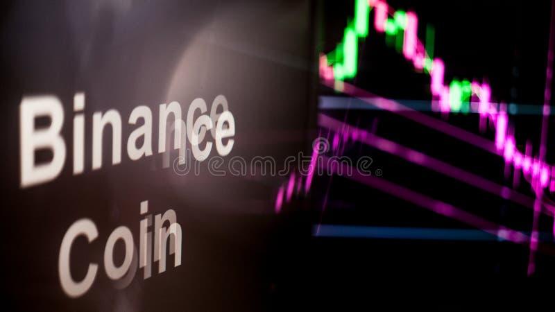 S?mbolo de Cryptocurrency da moeda de Binance O comportamento das trocas do cryptocurrency, conceito Tecnologias financeiras mode imagens de stock royalty free