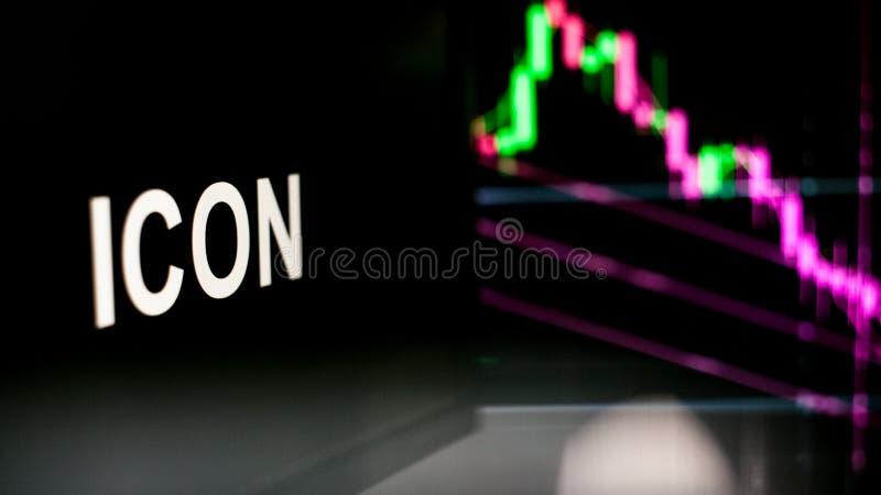 S?mbolo de Cryptocurrency del ICONO El comportamiento de los intercambios del cryptocurrency, concepto Tecnolog?as financieras mo fotos de archivo