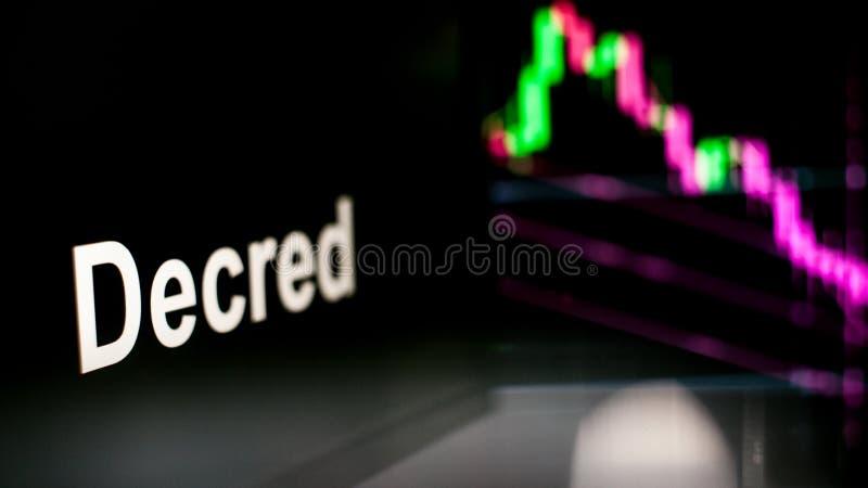 S?mbolo de Decred Cryptocurrency El comportamiento de los intercambios del cryptocurrency, concepto Tecnolog?as financieras moder imagen de archivo