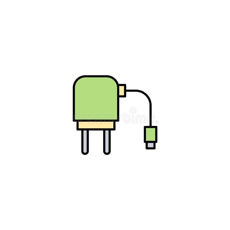S?mbolo de la muestra del icono del vector del adaptador del cargador ilustración del vector