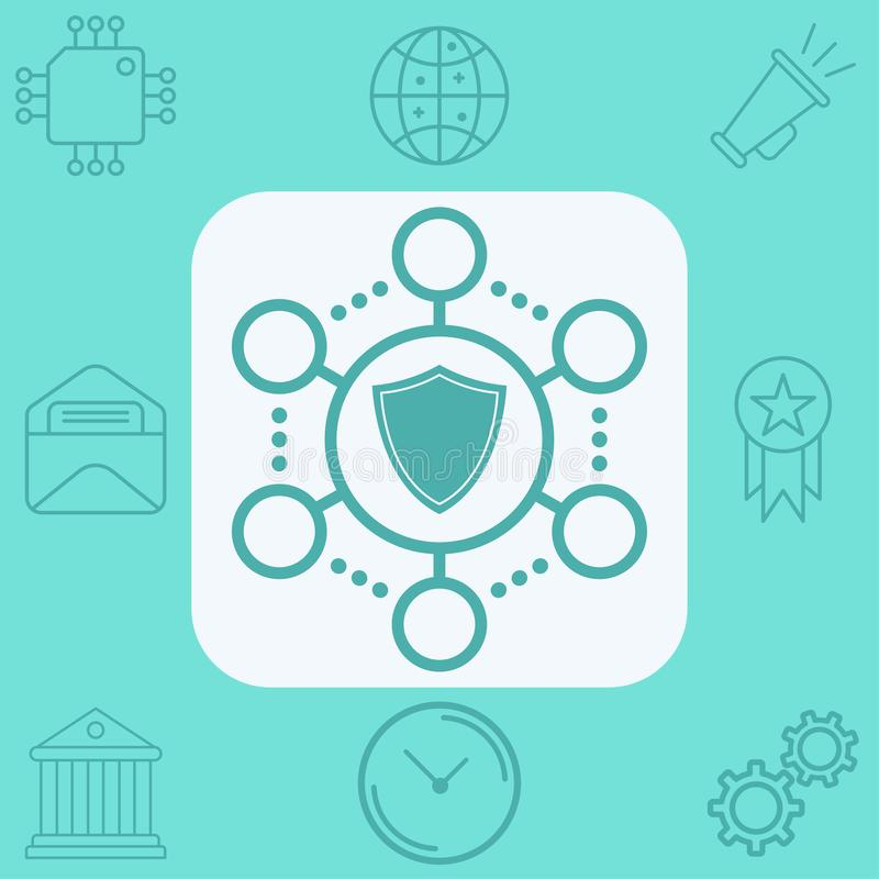 S?mbolo de la muestra del icono del vector de la protecci?n de la red ilustración del vector
