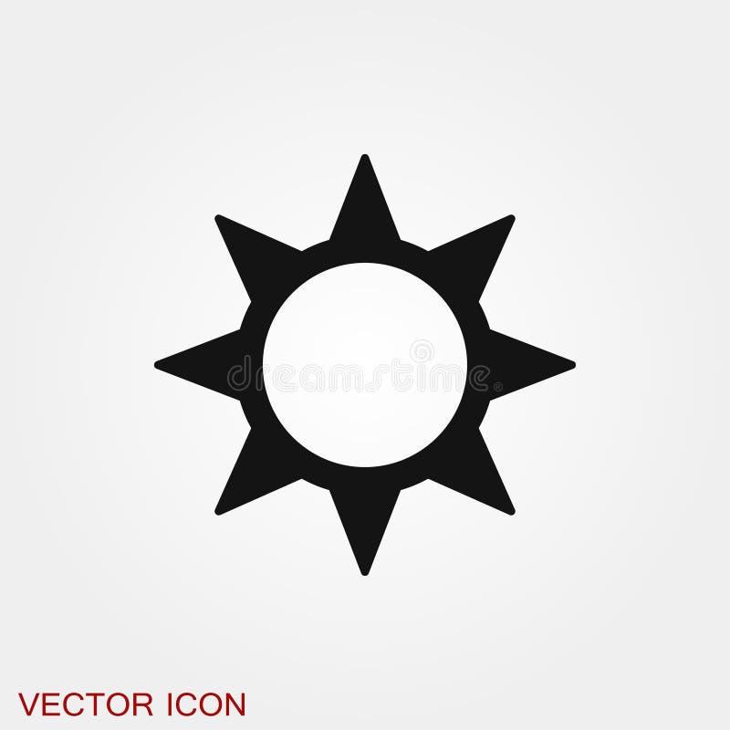 S?mbolo de la muestra del vector del icono de Sun para el dise?o stock de ilustración