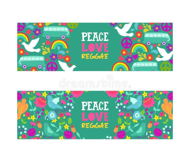 S?mbolo de paz da hippie Paz, amor, bandeira do vetor da música da reggae Fundo colorido com pombas brancas, arco-íris, ônibus e ilustração royalty free