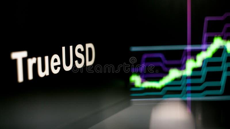 S?mbolo de TrueUSD Cryptocurrency El comportamiento de los intercambios del cryptocurrency, concepto Tecnolog?as financieras mode ilustración del vector