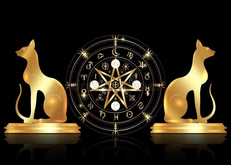 S?mbolo de Wiccan da prote??o Ajuste das runas de Mandala Witches e dos gatos dourados, adivinha??o m?stico de Wicca S?mbolos ocu ilustração royalty free