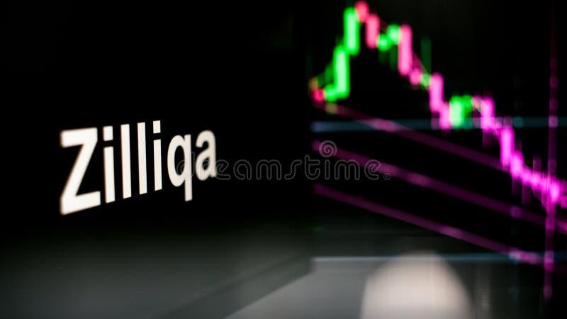 S?mbolo de Zilliqa Cryptocurrency O comportamento das trocas do cryptocurrency, conceito Tecnologias financeiras modernas foto de stock
