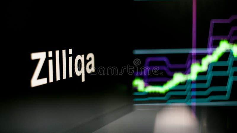 S?mbolo de Zilliqa Cryptocurrency O comportamento das trocas do cryptocurrency, conceito Tecnologias financeiras modernas fotografia de stock