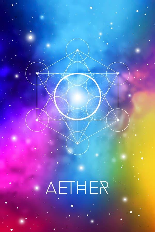 S?mbolo del elemento del alcohol dentro del cubo de Metatron y de la flor de la vida delante del fondo c?smico del espacio exteri libre illustration