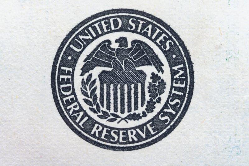 S?mbolo del sistema de Estados Unidos Federal Reserve, logotipo de Eagle - cierre ultra macro para arriba imagenes de archivo