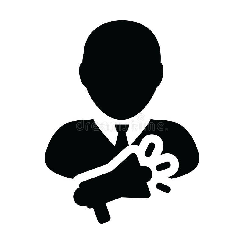 S?mbolo do avatar do perfil da pessoa masculina do vetor do ?cone da campanha com o megafone para anunciar no pictograma do glyph ilustração stock