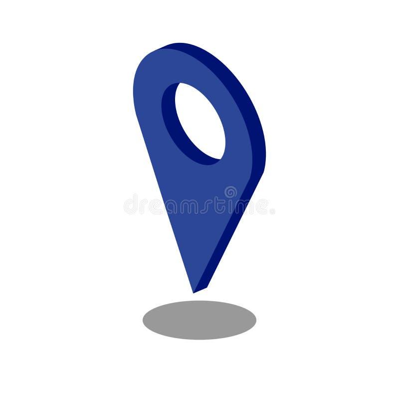 S?mbolo do ponteiro do mapa ?cone ou logotipo isom?trico liso pictograma do estilo 3D para o design web, UI, App m?vel, Infograph ilustração stock